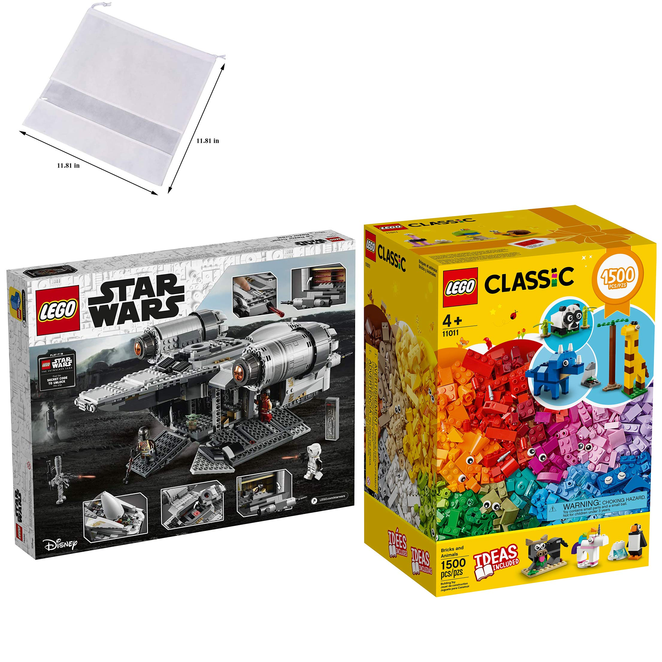 LEGO Star Wars: The Mandalorian The Razor Crest (75292) Building Kit (1,023 Pieces) + LEGO Bricks and Animals 11011 Classic Creative Toy with 10 Animal Playsets (1,500 Pieces) — BROAGE Drawstring Bag