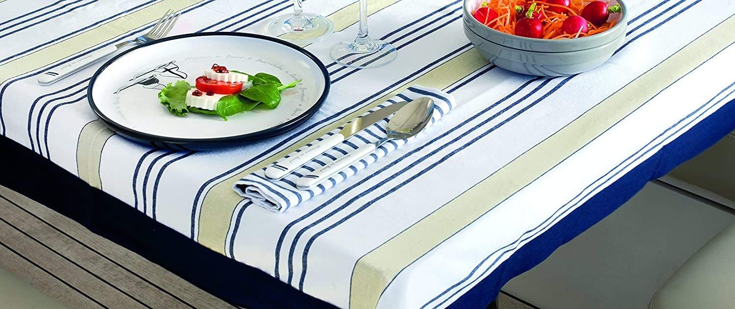 Amazing Amazon.com: MB Coastal Designs 22601 Nautical Striped Waterproof Tablecloth,  Beige/Blue: Home U0026 Kitchen