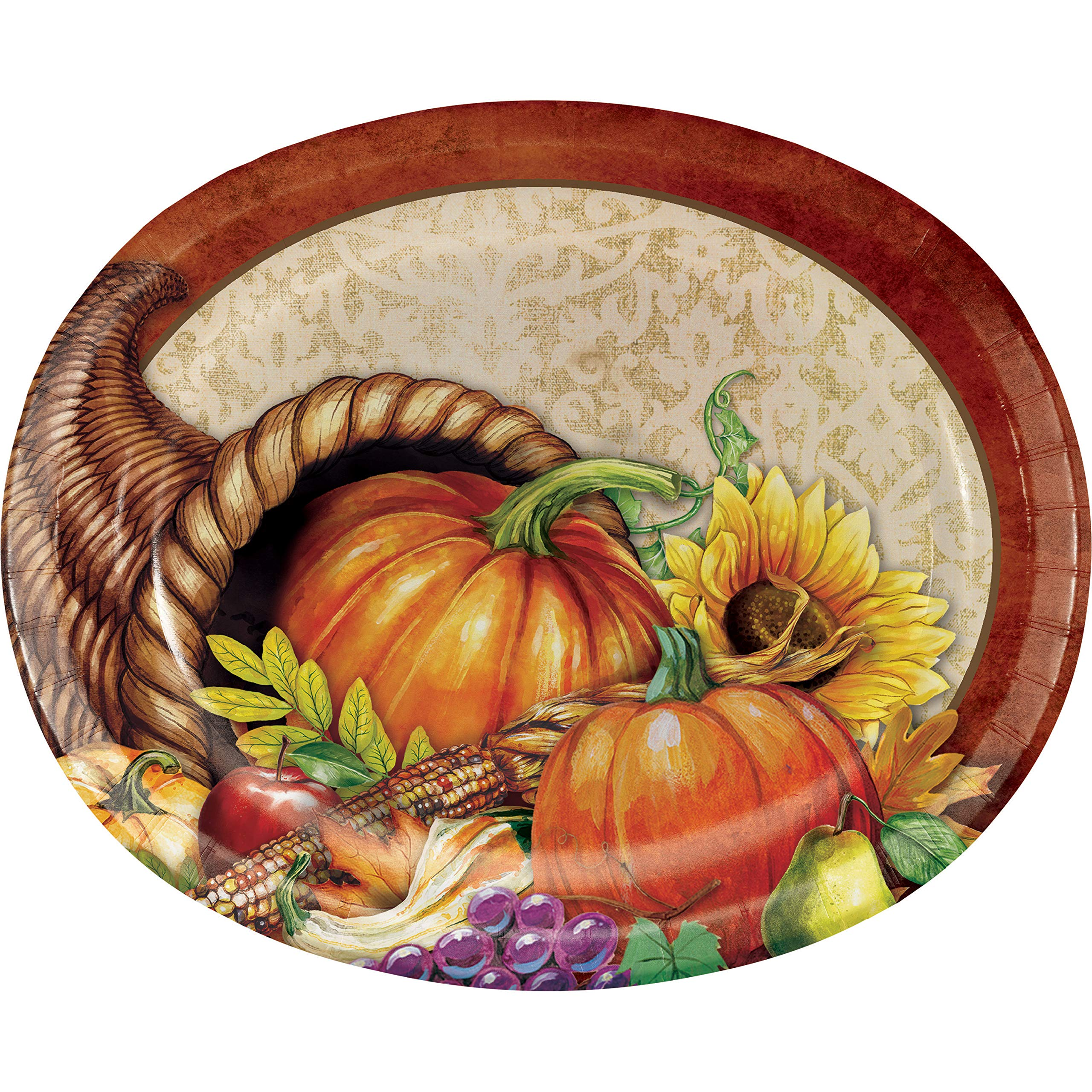 Harvest Thanksgiving Oval Plates, 24 ct by Creative Converting