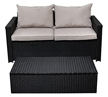 Serta Laguna Outdoor Storage Sofa U0026 Coffee Table   Black Wicker