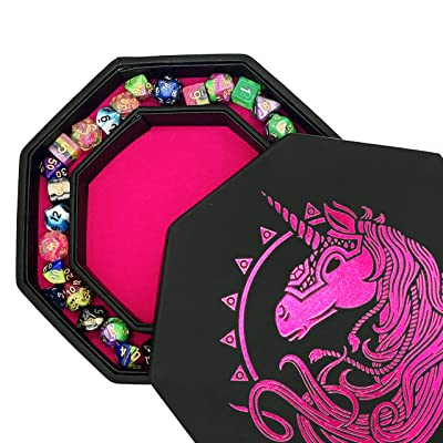 "Fantasydice- Pink - War Unicron- Dice Tray - 8"" Octagon with Lid and Dice Staging Area- Holds 5 Sets( 7 Dice Set/ Standard) for All Tabletop RPGs Like D&D , Call of Cthulhu, Shadowrun.: Toys & Games"