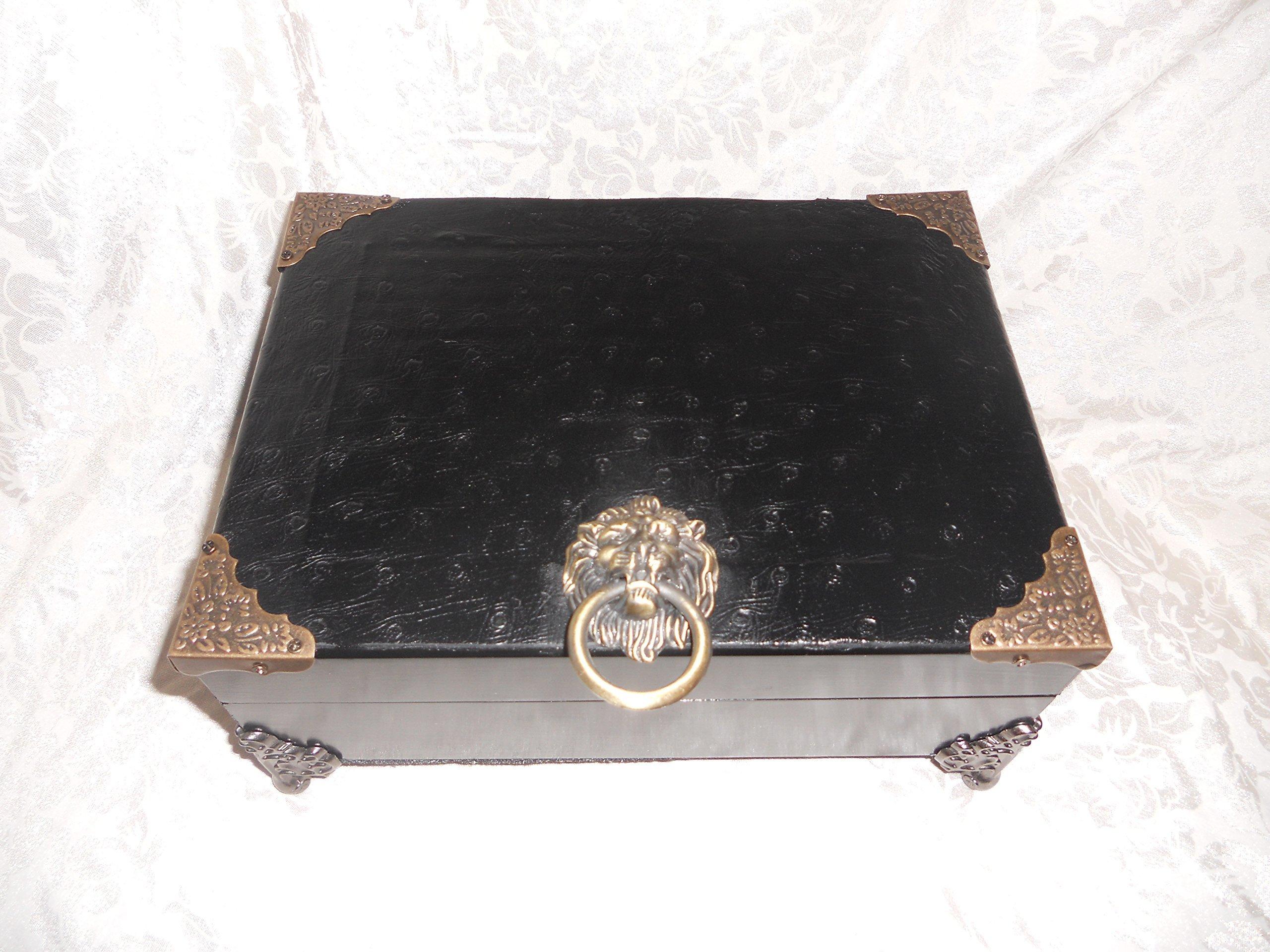 Mens Jewelry Box, Custom Box Valet, Black Ostrich Leather, Valuable Box, Personal Box, Organizing box, Leather