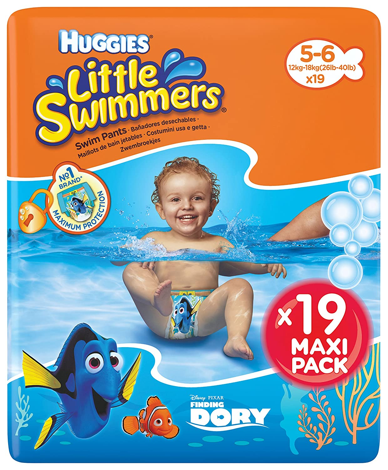 Huggies Little Swimmers Nappies, Size 5-6 (12-18kg),1Pack Containing 19Pieces Kimberly-Clark 5029053538433