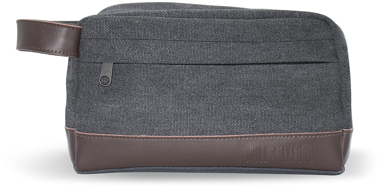 7728b2442824 Amazon.com   Men s Toiletry Wash Bag Dopp Kit - Canvas with Genuine Leather  trim for Travel