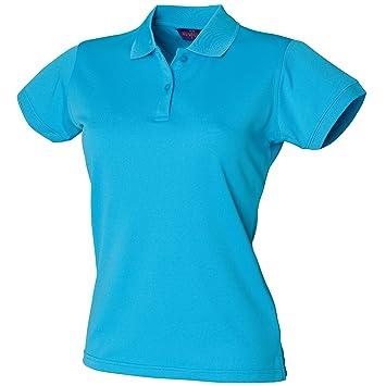 Henbury Damen Coolplus® Polo Shirt Polohemd, (Small) (Türkis)