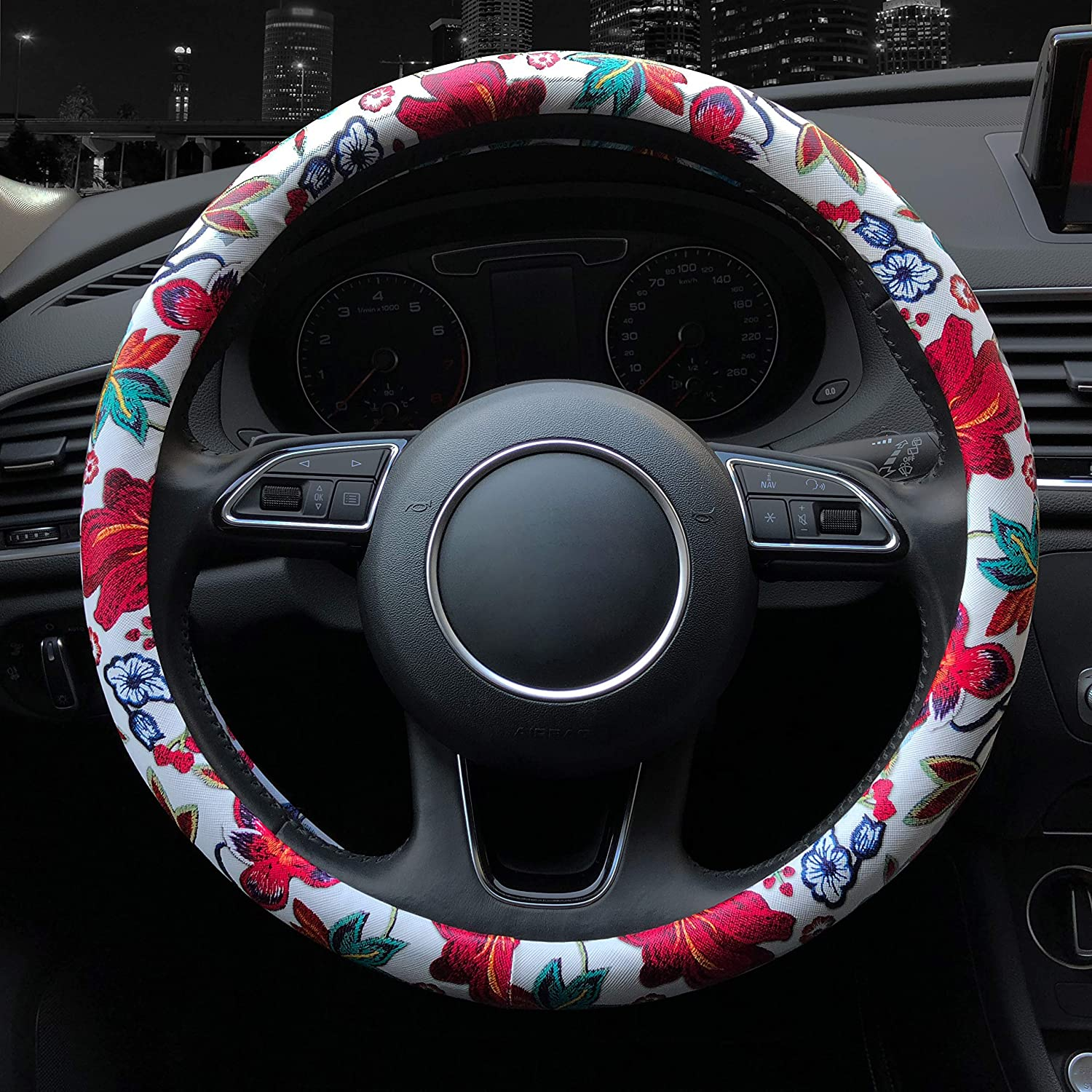 Binsheo Leather Car Floral Automotive Steering Wheel Cover,for Women Girls Ladies,Anti Slip Universal 15 Chinese Style Balck with Pink Flowers