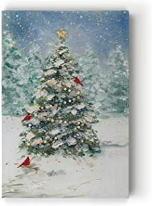 Renditions Gallery Gallery Wrapped Canvas Wall Art Print for Holiday Decor, 24x32, Cardinals and Christmas