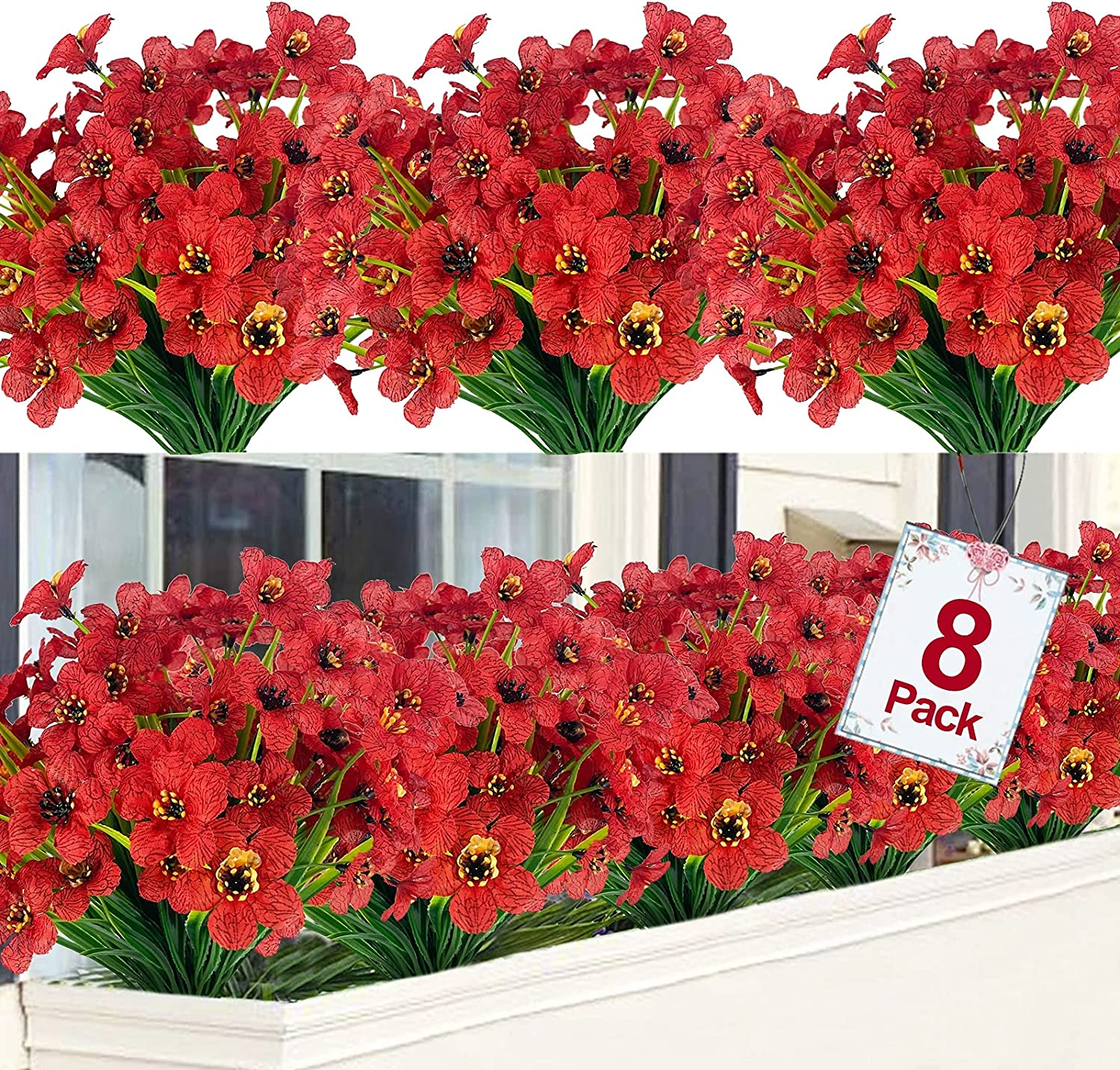 TURNMEON Artificial Flowers Outdoor UV Resistant Plastic Plant Silk Flower, Faux Fake Flower Greenery Shrub Plant Indoor Outdoor Hanging Planter Home Garden Porch Window Box Decor (Deep Red, 8)