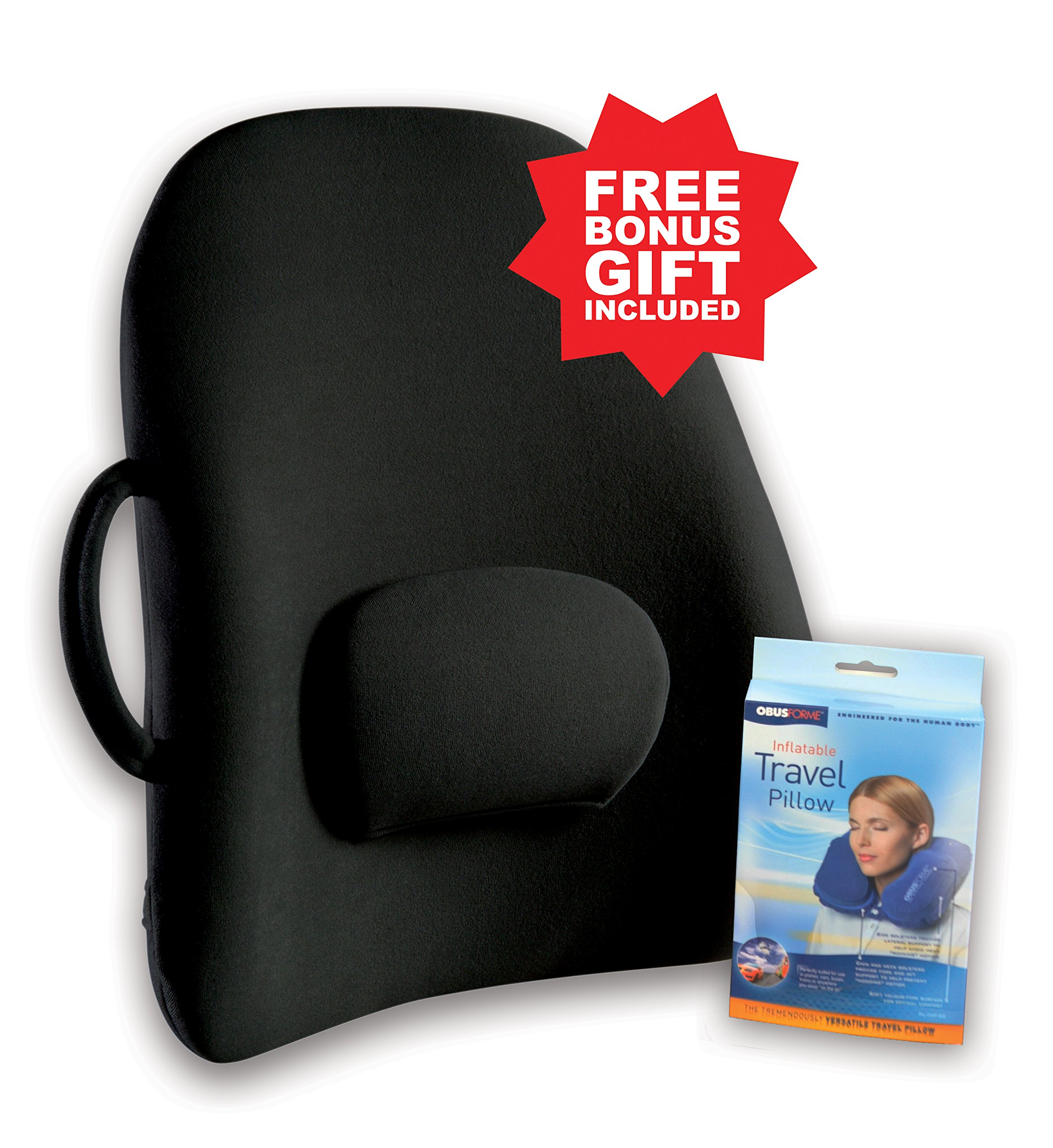 Obus Forme Ergonomic Lowback Backrest Support w/ Strap- FREE Gift!- Helps Relieve Back & Neck Pain- Great for Chairs, Travel & Home/Office/Car/Seat & Wheelchair- Adjustable Lumbar Cushion– Sciatica & Muscle Ache Relief- Lightweight, Portable & Comfortab