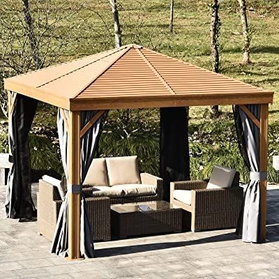 Steel Hardtop Gazebo Wood Effect Pattern with Netting and Screened Curtains Sidewalls Brown Modern Contemporary Southwestern Square Polyester: Home & Kitchen