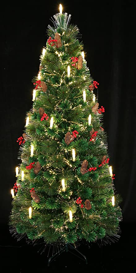 80th Century Noble Fir Pre-lit Fiber Optic Christmas tree Decorated with  Candle Light. - Amazon.com: 80th Century Noble Fir Pre-lit Fiber Optic Christmas