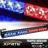 "Xprite 18"" 16 LED Emergency Warning Traffic Advisor Vehicle LED Strobe Light Bar - Red & Blue"