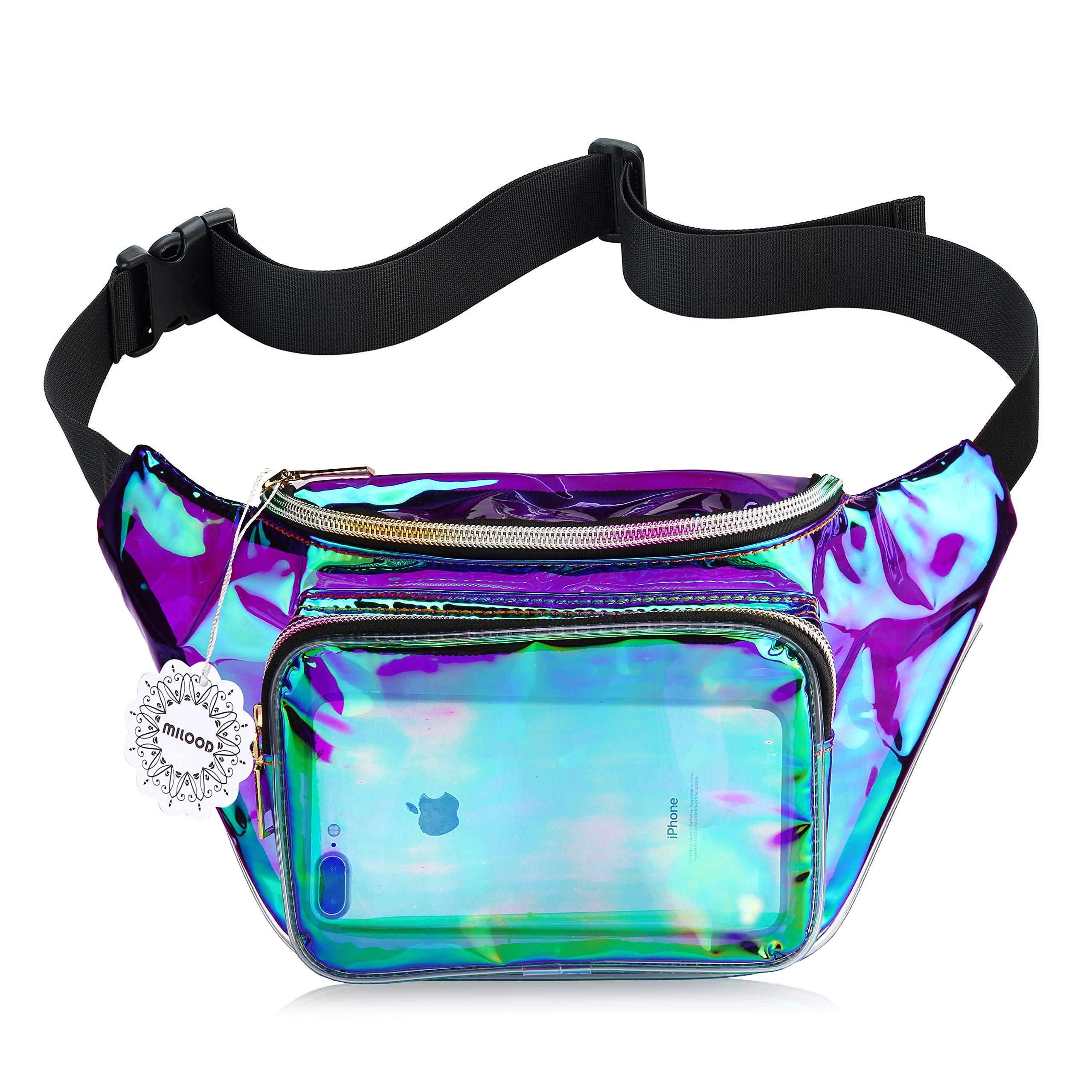 Shiny Neon Fanny Bag for Women Rave Festival Hologram Bum Travel Waist Pack (Iridescent Purple)