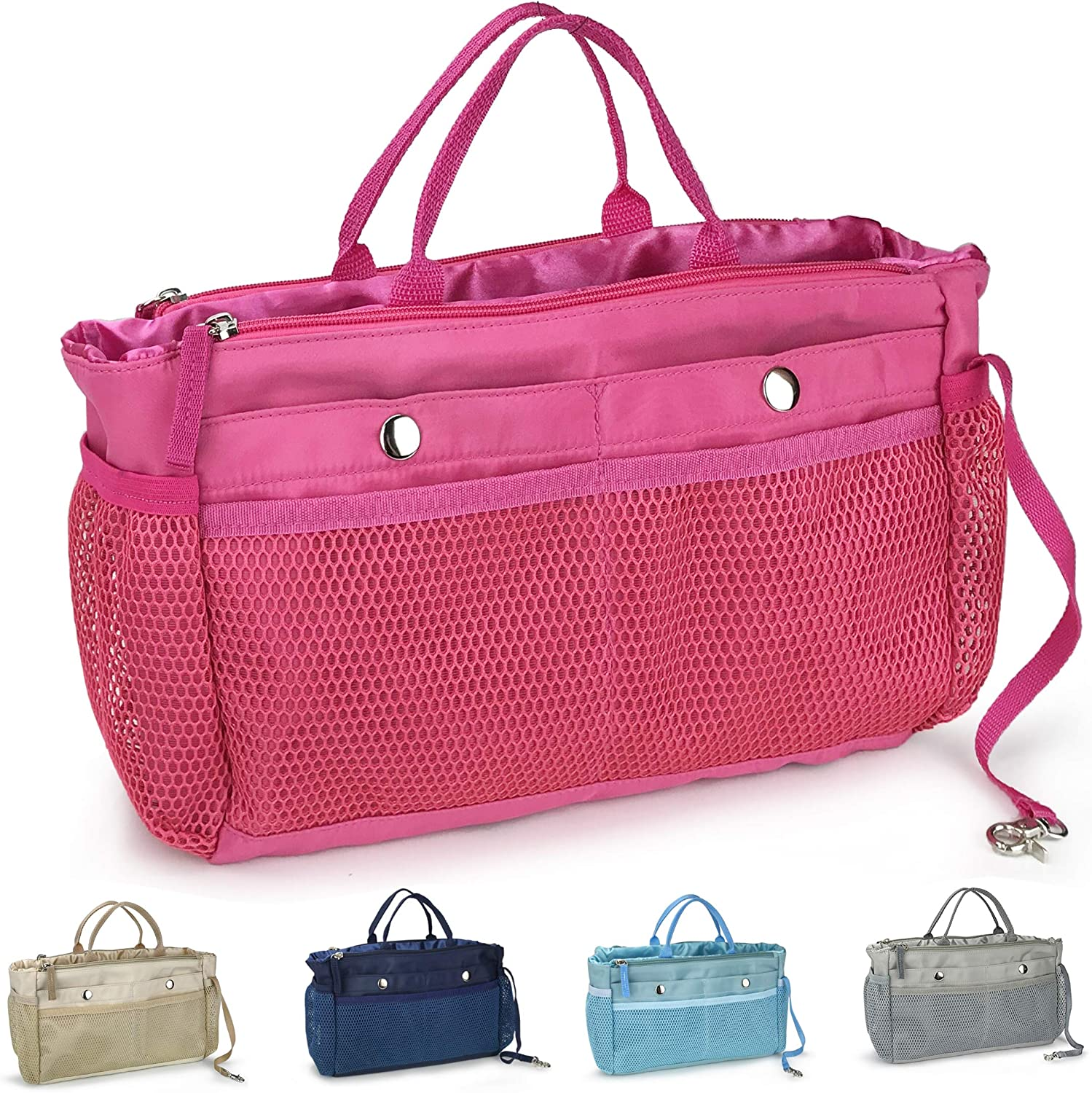Handbag Organizer Insert 15 Pockets Purse Tote Insert with Convertible Drawstring Pouch (Hot Pink)