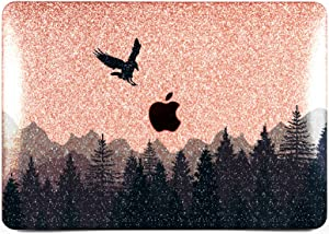 "Cavka Hard Glitter Case for Apple MacBook Pro 13"" 2019 Retina 15"" Mac Air 11"" Mac 12"" Bling Forest Shiny Dark Haze Black New Cover Glossy Design Sparkly Rose Gold Graphic Silver Highlands Raven Print"