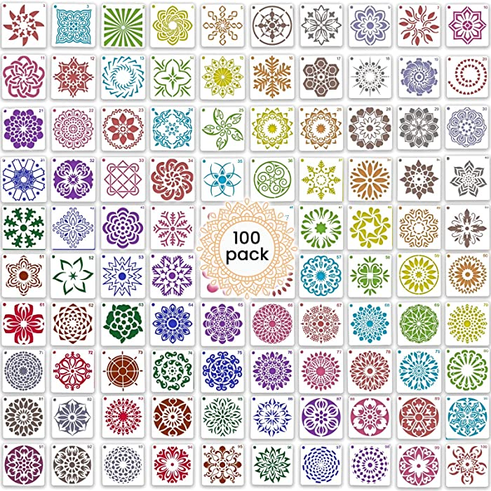 100 Pack Mandala Stencils for Painting - Templates for Rocks Walls Wood Canvas Floors Furniture Tile Segment and Dotting Stones Fabric Small Design 3.6x3.6 Inch Reusable Dot Art Tools Large Set