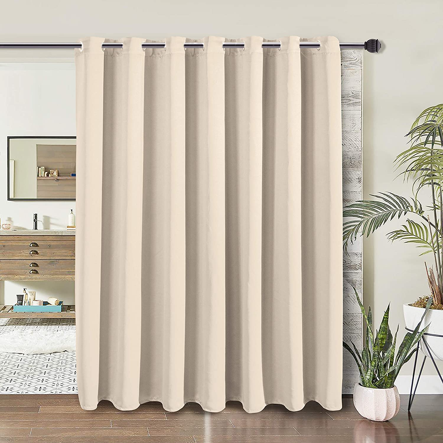 wontex room divider curtain privacy blackout curtains for bedroom partition living room and shared office thermal insulated grommet curtain panel