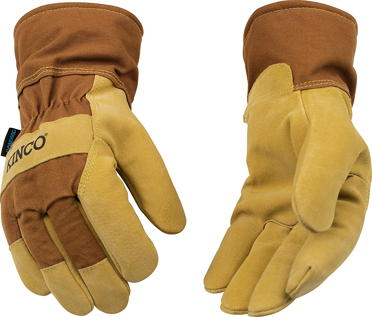 Brown duck fabric back /& safety cuff Kinco 1958-M-1 Suede pigskin Aquanot waterproof insert Size: M Lined safety cuff Heatkeep thermal lining