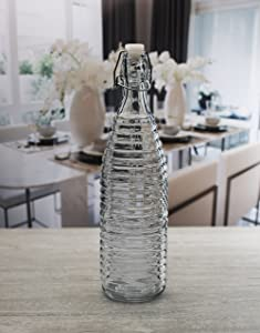 Circleware Spiral Embossed Glass Bottle with Locking Swing Top Lid Fun Party Home Entertainment Glassware Drink Pitcher for Water, Milk, Juice, Beer, Ice Tea, Farmhouse Decor, 34 oz, Hermetic