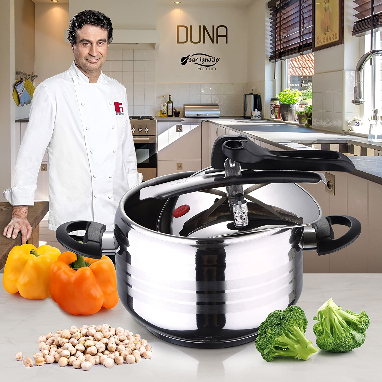 San Ignacio Duna Premium Olla Express 5 litros y Set de sartenes, expres-Acero Inoxidable, Cromado