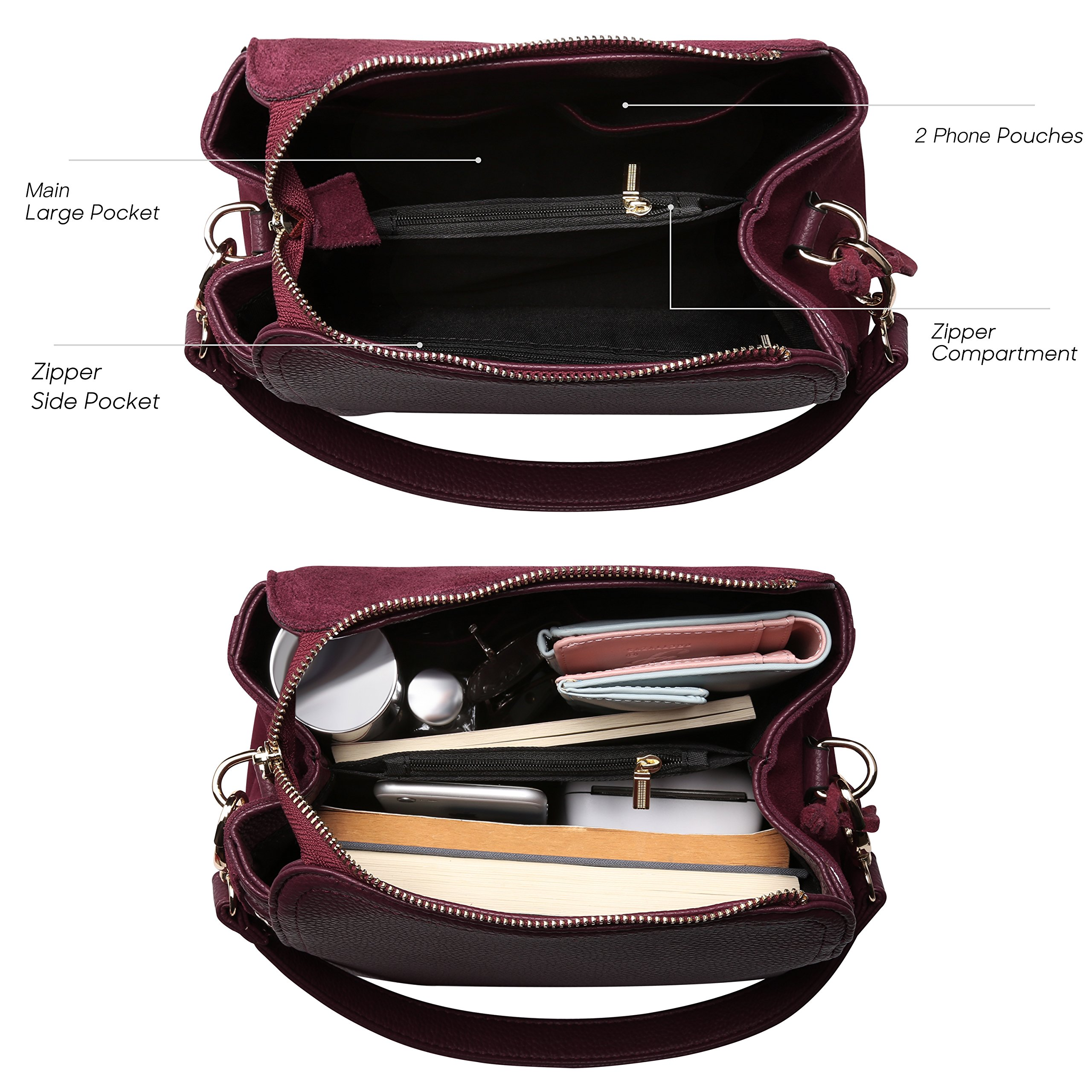 Women Real Suede Leather Shoulder Bag Leisure Doctor Handbag For Female Girls Top-handle (Burgundy) by Nico louise (Image #5)