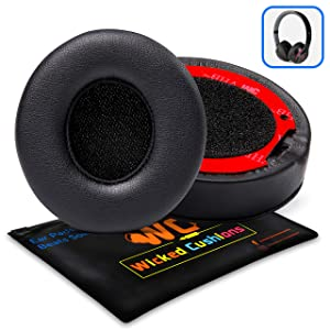(New Version) Premium Replacement Ear Pads for Beats Solo 2 & 3 Wireless by Wicked Cushions Adaptive Memory Foam - Thicker Than The Originals - Easy to Apply | Black
