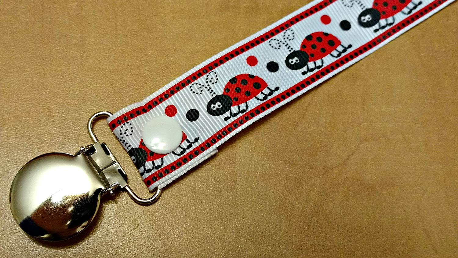 Ladybug Pacifier clip binky soother strap