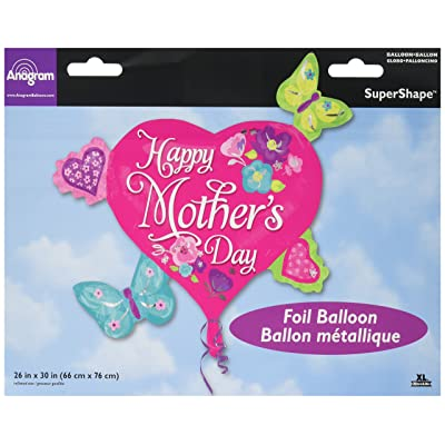 "30"" Butterflies & Hearts Mothers Day Foil Balloon: Toys & Games"