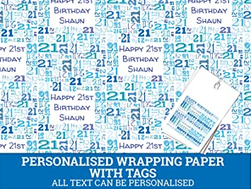 Blue Happy 21st Birthday Personalised Wrapping Paper Baby