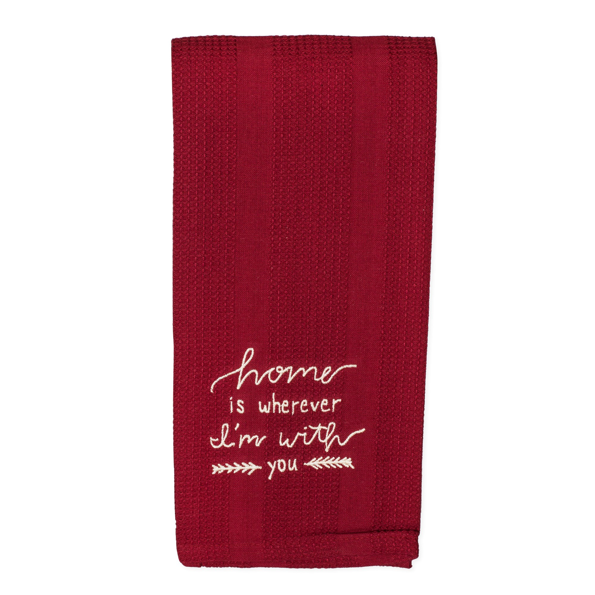 Home Wherever I'm With You 19 x 28 All Cotton Embroidered Waffle Kitchen Towel