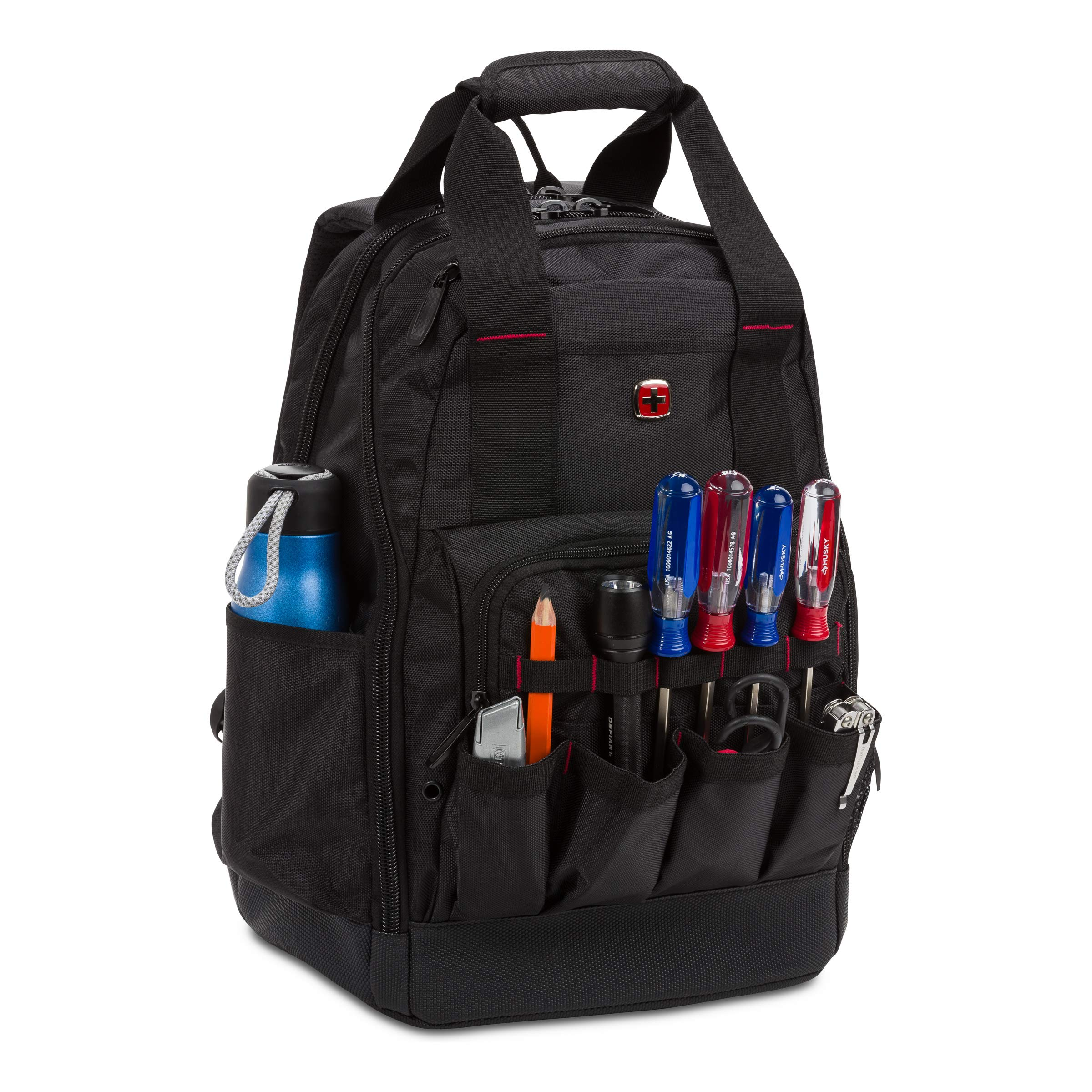SWISSGEAR 2767 Large Durable Work Pack Tool Backpack With Padded Laptop Compartment | Tool Storage, Part Organization, Wet/Dry Pocket - Black by SwissGear (Image #7)