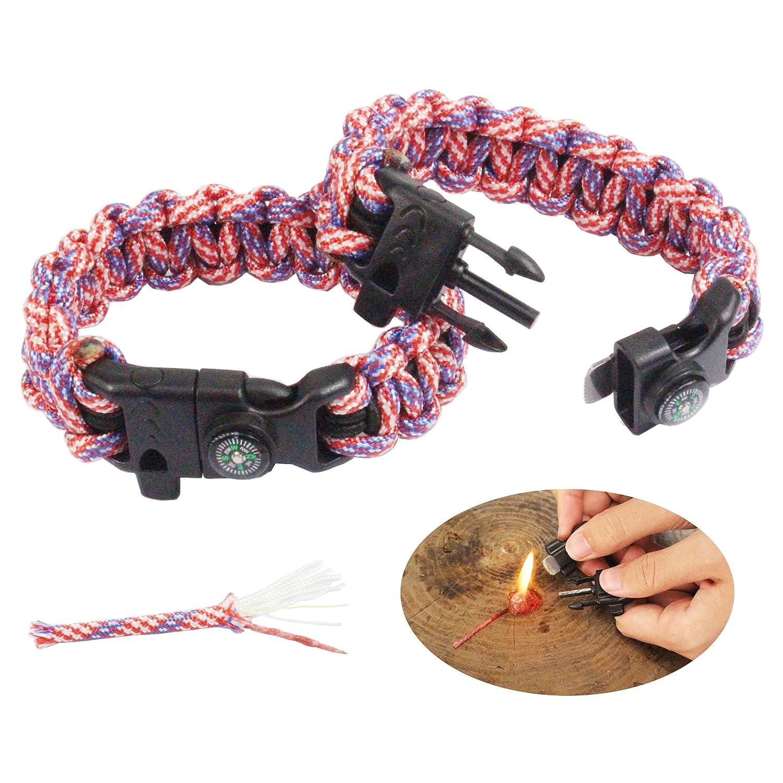 PSKOOK Paracord Survival Armband mit elastischen Schock Seil Kompass Whistle Feuerstarter Wildnis Taktische Notfall Ausr/üstung Kit 2PCS