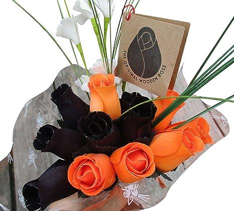 Amazon Com The Original Wooden Rose Halloween Black And Orange Flower Bouquet Closed Bud 1 Dozen Home Kitchen