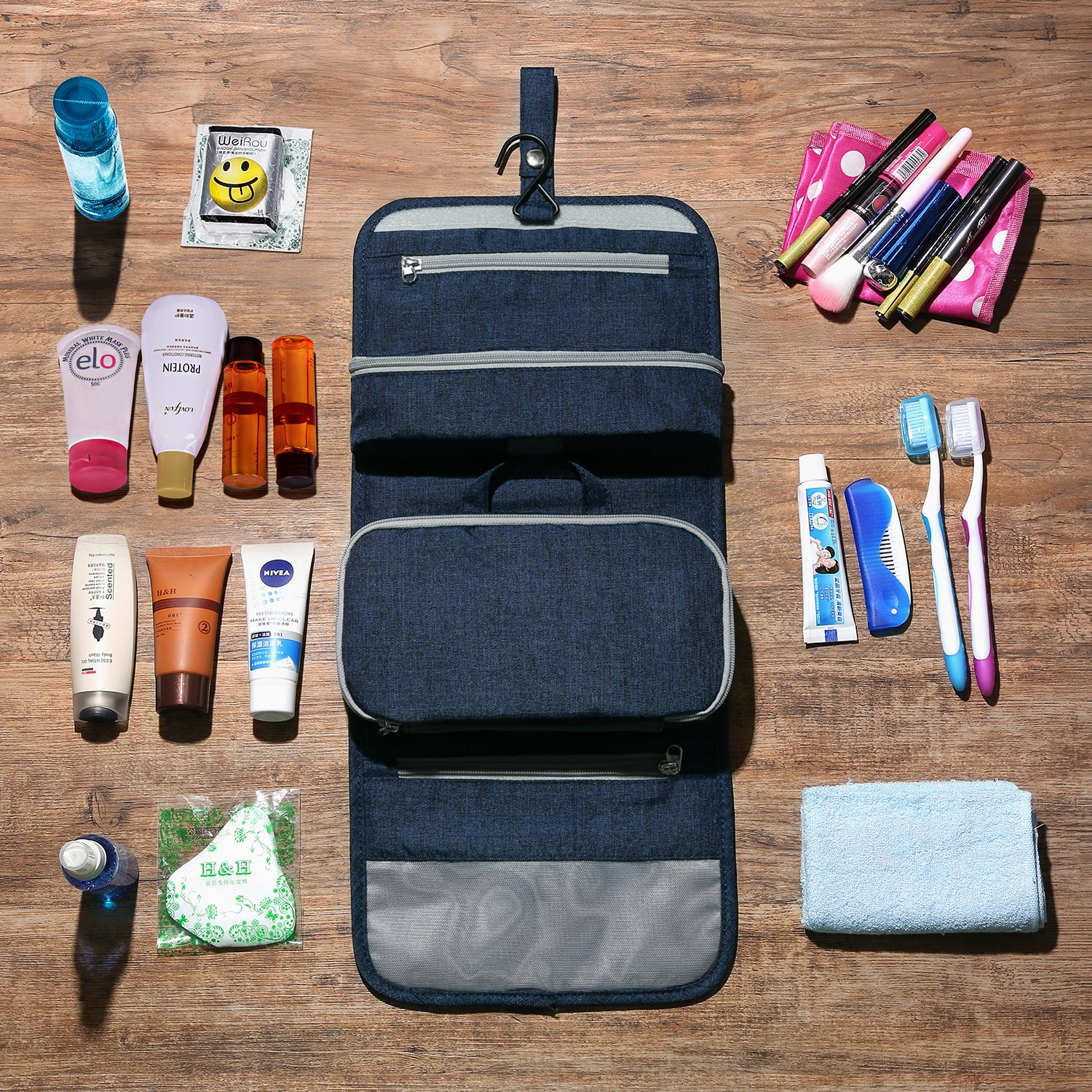 Mountaintop Hanging Travel Toiletry Bag, 7.1 x 2.4 x 9.3-Inch For Men & Women by Mountaintop (Image #2)