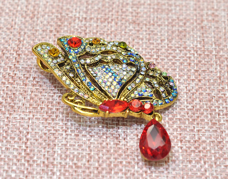 Gyn/&Joy Womens Vintage Crystal Rhinestones Drop Winged Butterfly Brooch Pin