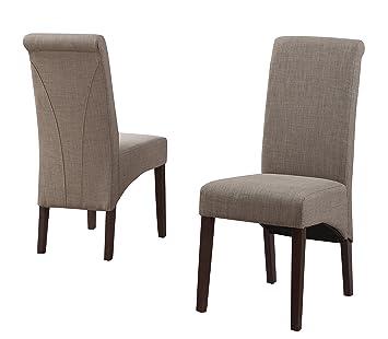 Simpli Home Avalon Linen Deluxe Parson Chair, Light Mocha, (Set Of 2)