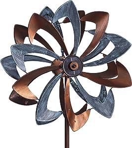 Solar LED Metal Flower Garden Wind Spinner 24.5 Dia. x 11.5 D x 75 H (Verdigris Copper)