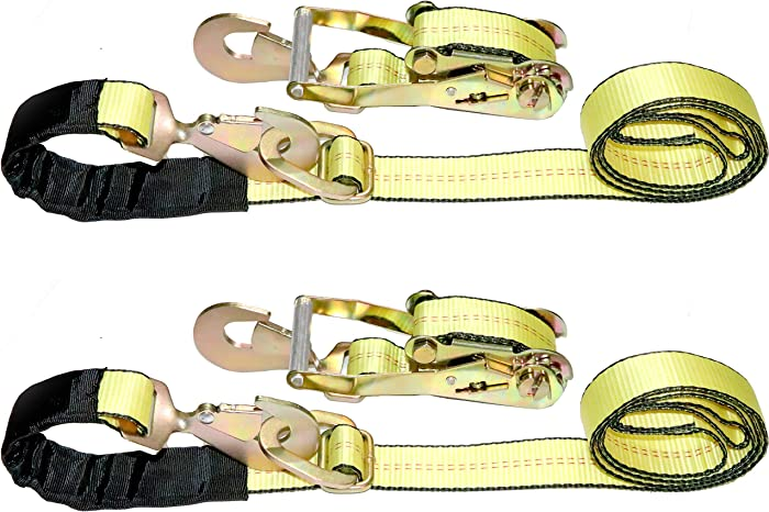 """DKG-097 2"""" x 8' Axle Strap Ratchet Tie Down with Snap Hook -Extreme Strength Ratcheting Tension Car Carrier Straps – Car Hauler Trailer Snap Hook Ratchet (2 Pack)"""