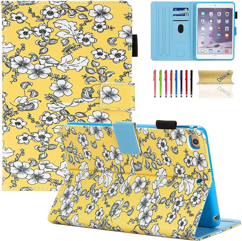 Dteck Case for iPad Mini 4 Case/iPad Mini 5 2019 (5th Generation 7.9 inch), Slim Premium Leather Smart Folio Stand Case with Pencil Holder, Auto Sleep/Wake, Multi-Angle Viewing Case, Flower