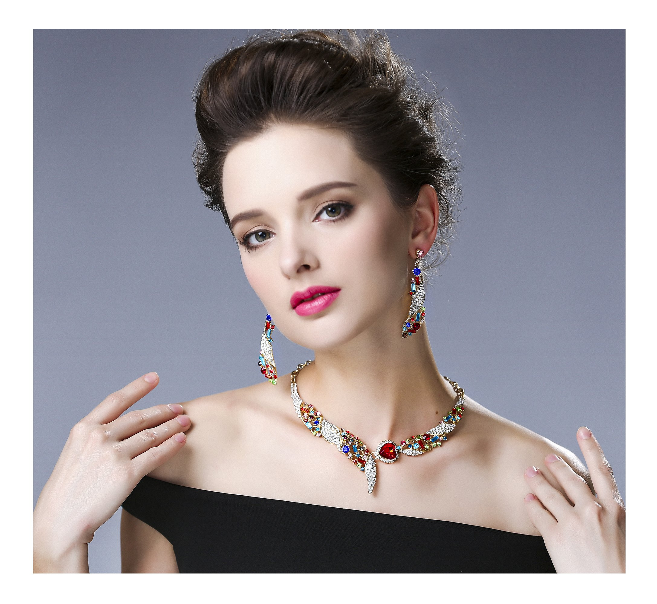 Hamer Crystal Choker Statement Necklace and Earrings Sets Pendant Charm Custom Jewelry Wedding