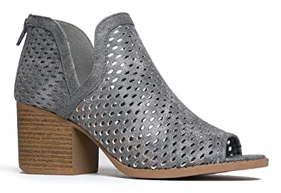 Women's Perforated Cut Out Heeled Bootie - Faux Leather Pull On Boot - Women's Mid Heel Shoe