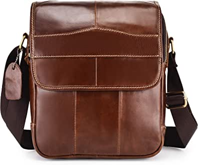 Bolso de hombre de piel auténtica, bolso de hombre, con asa, vintage, bolso bandolera de trabajo, con correa extraíble (café oscuro-C)