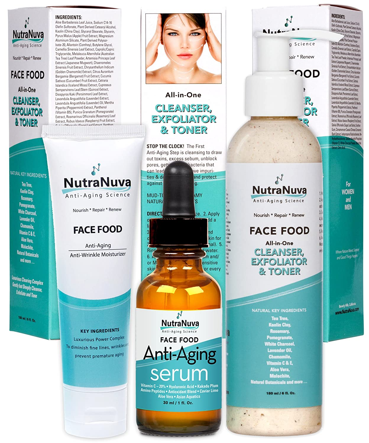 NutraNuva Face Food Natural Skin Care – Stop-the-Clock! Beauty Gift Set -  Anti Aging Anti Wrinkle