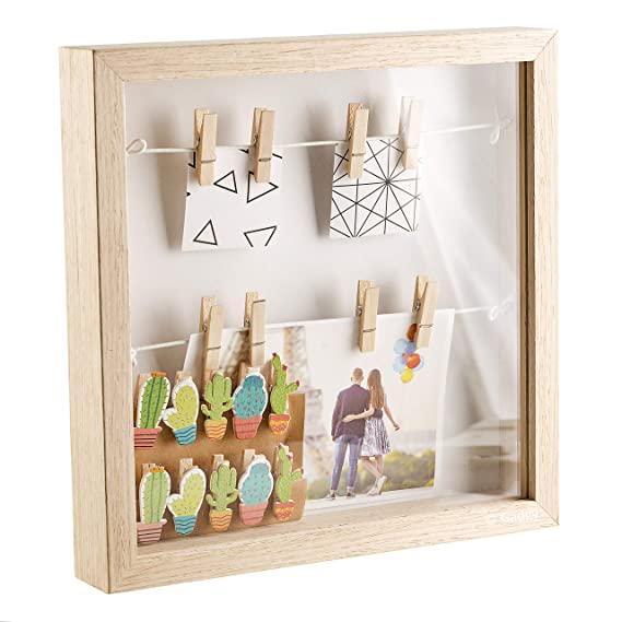 Gadgy ® 3D Bilderrahmen   MDF Rahmen mit 18 Wäscheklammern   25x25x4 cm Box Design   Objektrahmen zum Befüllen