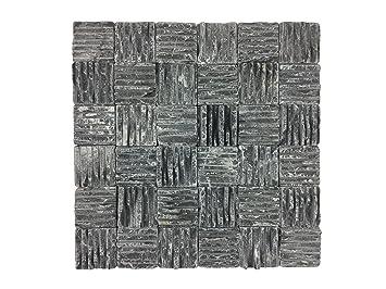 Naturstein Mosaik Aus Marmor Als Wandstein/Steinwand/Verblendstein |  Wandverkleidung Für Bad, Küche, Diele Oder Wohnzimmer Aus Echtem Stein  (Delta Black): ...