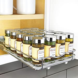 """Lynk Professional Slide Out Spice Rack Upper Cabinet Organizer-8-inch Wide, 8-1/4"""" Single, Chrome"""