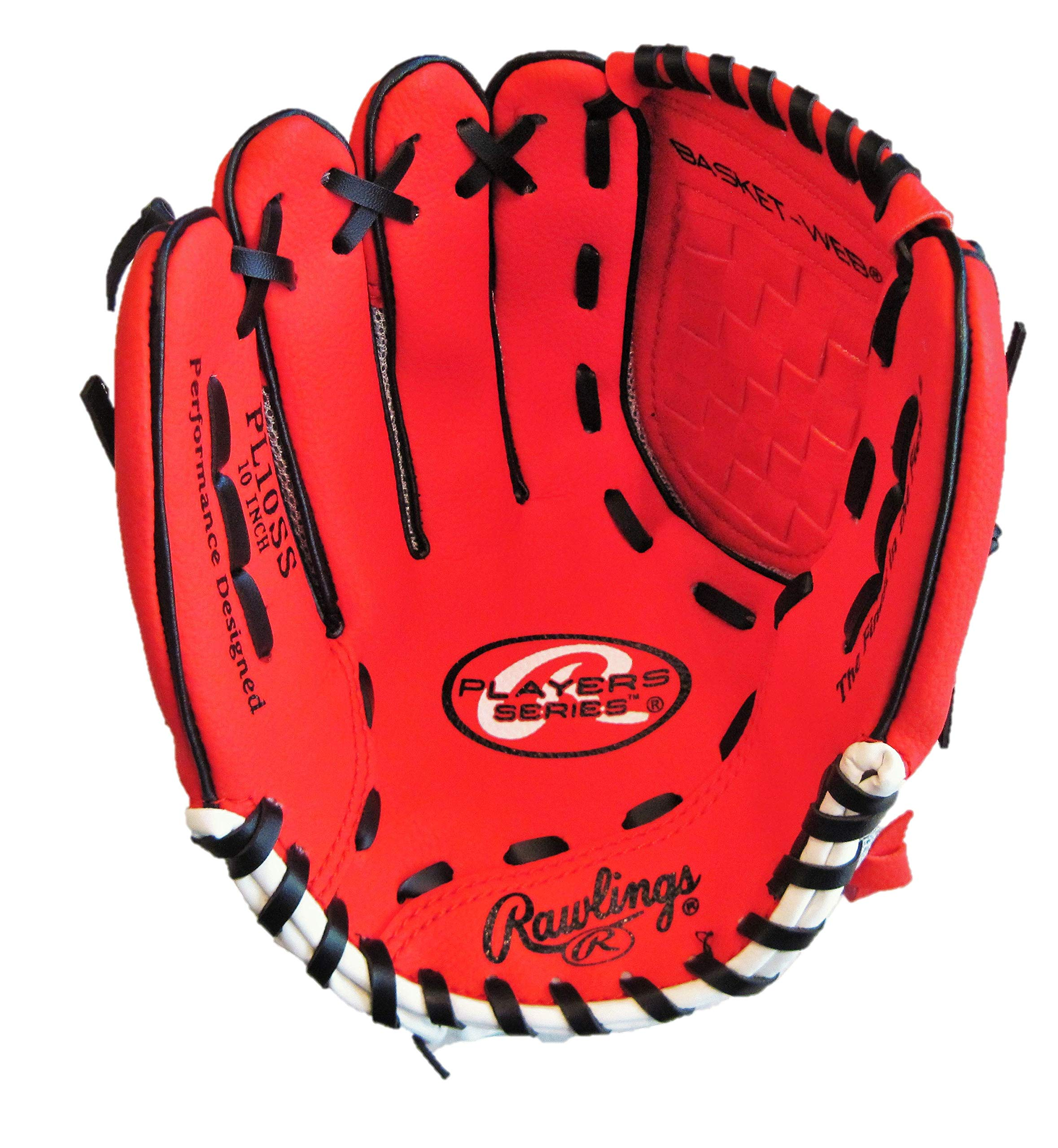 Rawlings Lefty Baseball Glove RED Pro 10 inches PL10SS Professional Tee Ball Pitcher Hand Players Series Leather Pocket Mitt Red Infield Left Hand Throw Catchers Gloves by Rawlings Lefty PL10SS Players Series
