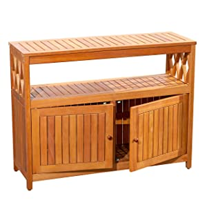 DTY Outdoor Living Longs Peak Eucalyptus Sideboard, Outdoor Living Patio Furniture Collection - Natural Oil
