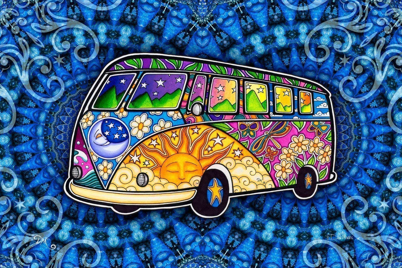 Peace Van Road Trip Hippie Bus 3D Tapestry by Dan Morris