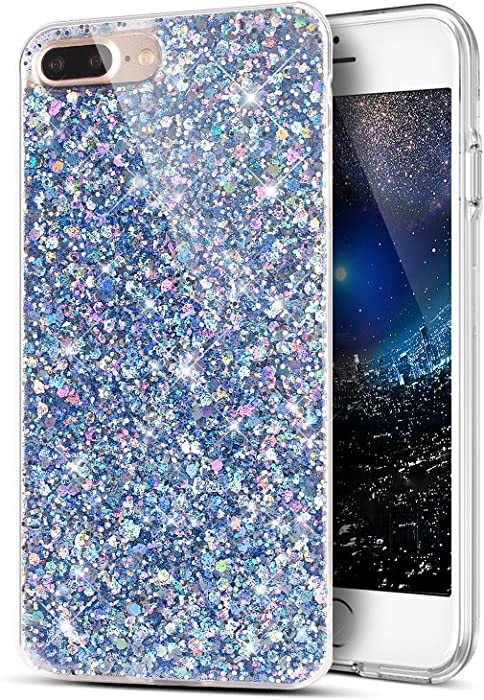 iPhone 8 Plus Case,iPhone 7 Plus Case,Sparkly Shiny Glitter Bling Powder 3D Diamond Paillette Slim Glitter Flexible Soft Rubber Gel TPU Protective Case Cover for iPhone 8 Plus / 7 Plus,Blue
